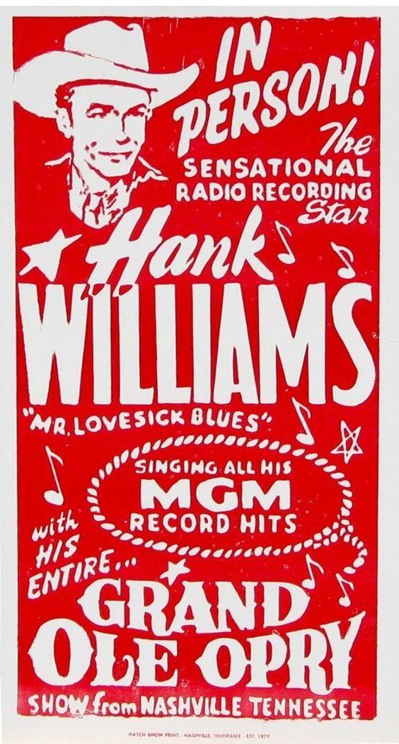 Hank Williams Concert Poster Letterpress Poster Vintage Concert Posters Hank Williams