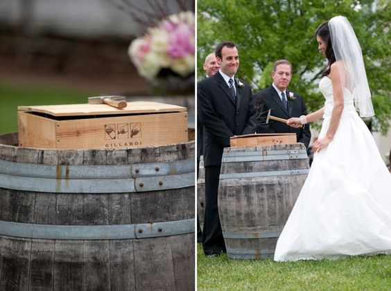the bride and groom placed letters to each other inside a crate with 2 bottles of wine, nail the box together, vowing that if they ever had hard times, they would open the box, read the letters, and drink the wine together. Such a cute idea