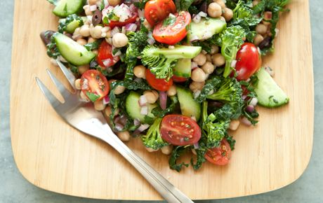 Mediterranean Crunch Salad: garbanzo beans, broccoli, kale, cucumbers, tomatoes, red onions and Kalamata olives