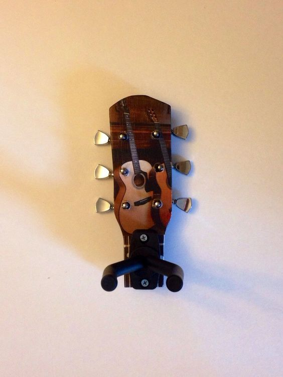 Guitar storage & display wall hook made from reclaimed lumber and chrome guitar tuners by MusicAsArtBySarah on Etsy