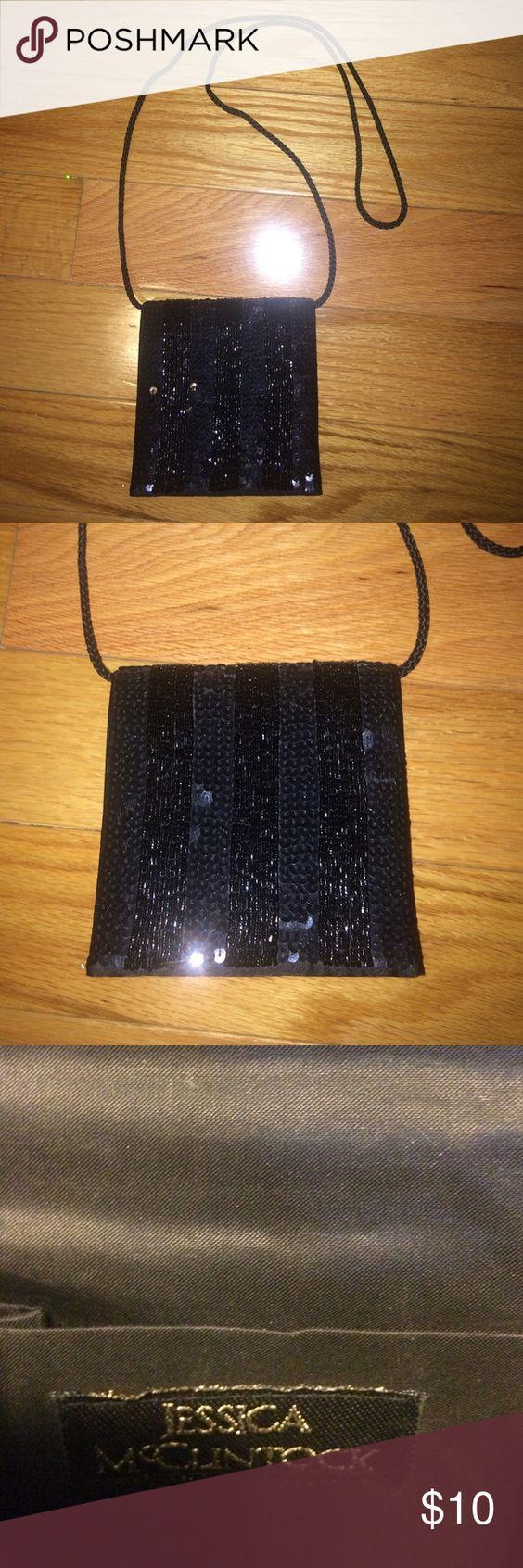 Jessica McClintock Black Sequin Evening Bag NWOT Jessica McClintock Black Sequin Evening Bag! Can carry as clutch or over the shoulder. Jessica McClintock Bags Clutches & Wristlets
