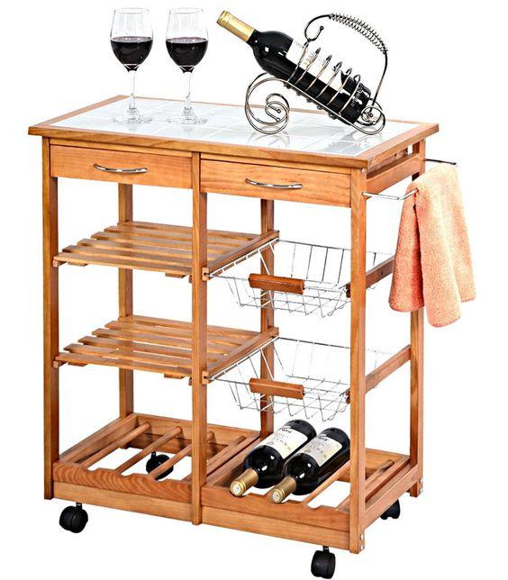 Kitchen Island Cart Rolling Trolley Storage Drawers Portable Cabinet Organizer  #Unbranded