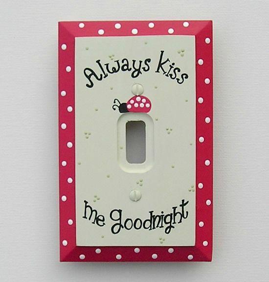 Ladybug Always Kiss Me Goodnight Switch Plate