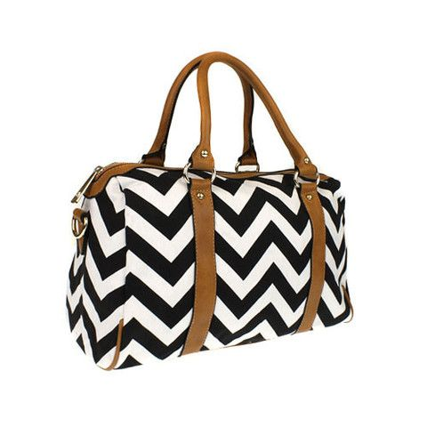 #3AM PP 5791-SWT chevron fabric satchel black white – Charmed and Company Creations