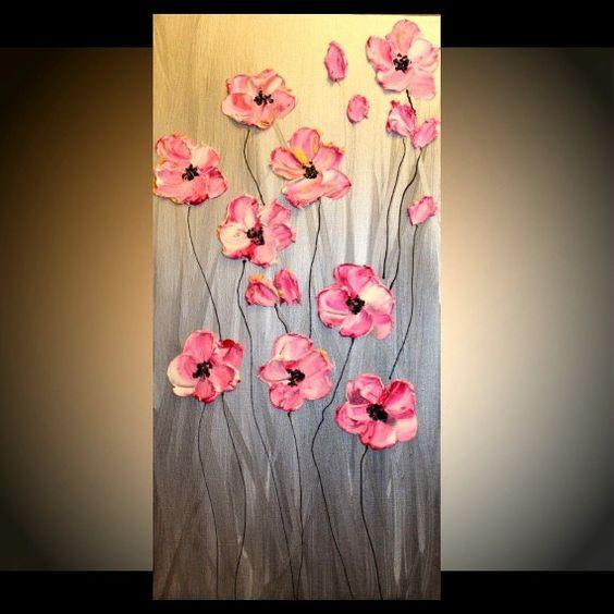 """Original Galería lienzo contemporáneo 24"""" espátula firma floral impasto pintura al óleo abstracta de Nicolette Vaughan Horner"""