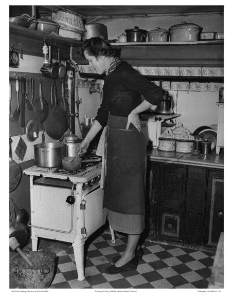 Julia Child at her apartment at 81 rue de l'Université in Paris, ca. 1950