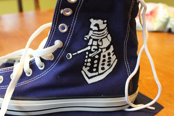 Dr. Who shoes...Converse high tops stenciled with screen printing ink: