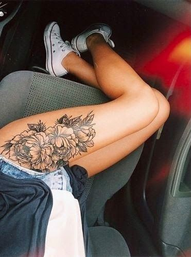 I'm not planning to get a flower tattoo, but Im getting both thighs tatted and I cant wait cuz thigh tatts are sexy as fuck. Go big or go home.