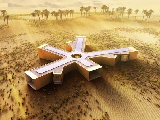 Retiro ecológico y prefabricado para el desierto. Retiro ecológico para construir en el desierto de Liwa (Emiratos Árabes). La casa tiene forma de estrella y está hecha de módulos prefabricados de hormigón. Se organiza en torno a una chimenea situada en el centro, y posee grandes ventanas con control automático de la privacidad. El proyecto lo ha realizado el estudio londinense de Baharash Architects.  #CasasPrefabricadas, #Sostenibilidad