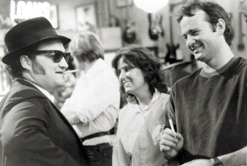 John Belushi and Bill Murray on the set of Blues Brothers.