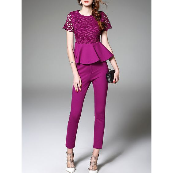 Purple Two Piece Pierced Work Jumpsuit (105 NZD) ❤ liked on Polyvore featuring jumpsuits, two piece jumpsuit, jump suit, purple jumpsuit and 2 piece jumpsuit