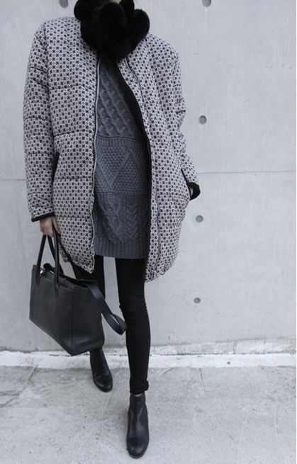 something similar with your big white sweater and blk MC puffy coat
