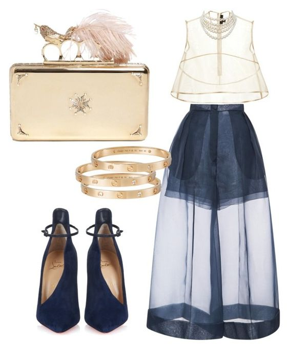 """As light as a bird..."" by yourfavfashblogger on Polyvore featuring Christian Louboutin, Delpozo, E L L E R Y, Christian Dior, Cartier and Alexander McQueen"