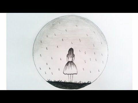 رسم منظر طبيعي رسم بنت تحت المطر Drawing A Girl In The Rain Youtube Celestial Celestial Bodies