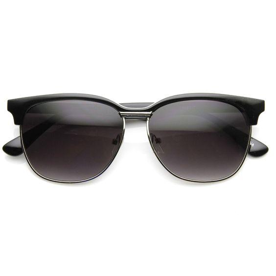 New Retro Large Half Frame Horned Rim Sunglasses 9133
