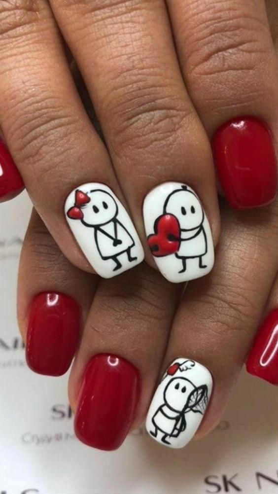 Love Heart Nails With Stick Man Nailsglitters Valentines Nail Art Designs Valentine Nail Art Nail Designs Valentines