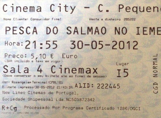 Cinema: A Pesca do Salmão no Iemen (Salmon Fishing in the Yemen) (3D) @ Cinema City - Campo Pequeno, Lisboa a 30 de Maio de 2012.