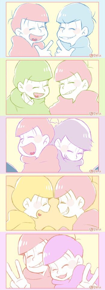 Osomatsu-san. Osomatsu interacting with his bros X3