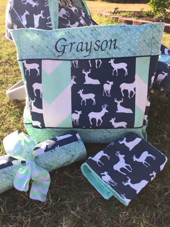 Hey, I found this really awesome Etsy listing at https://www.etsy.com/listing/255947502/custom-mint-and-navy-deer-diaper-bag-set