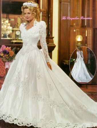 princess wedding dress, classic 80's style