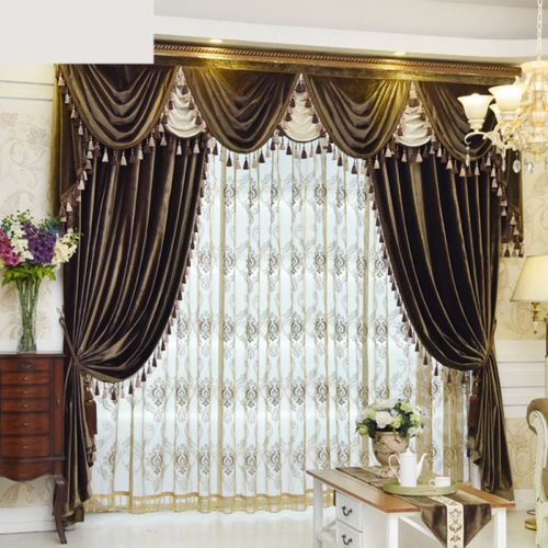 Luxury European Velvet Solid Color Cloth Curtain Tulle Sheer