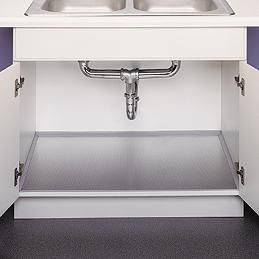 under kitchen sink cabinet liner polished aluminum undersink liner space saving ideas 27585