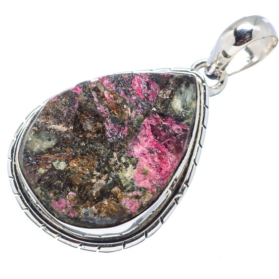 """Rough Russian Eudialyte 925 Sterling Silver Pendant 1 1/2"""" PD524124"""