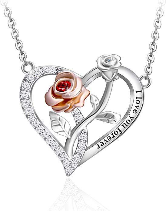925 Gold Double Heart Love Drop Necklace Gift Present Women Wedding