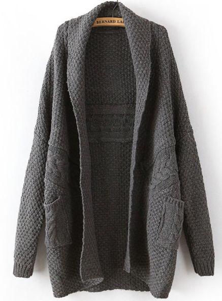 Dark Grey Long Sleeve Cable Knit Pockets Cardigan - Sheinside.com ...