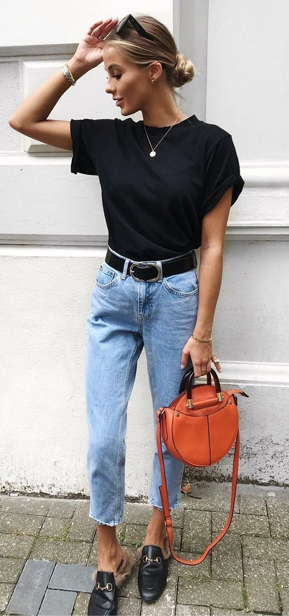 trendy outfit with jeans / black top + red round bag + loafers