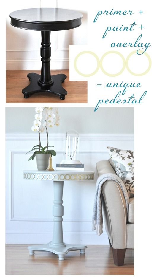 Pedestal tables overlays and pedestal on pinterest for Pedestal table diy