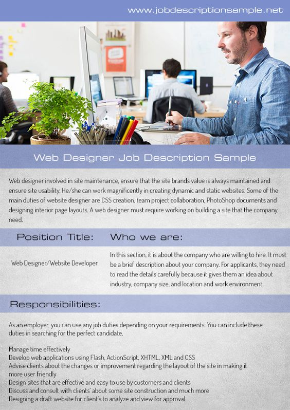 10 best job description sample images on Pinterest Job - web designer job description