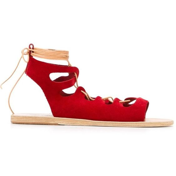 Ancient Greek Sandals Antigone Sandals ($82) ❤ liked on Polyvore featuring shoes, sandals, red, red suede shoes, suede leather shoes, flat sandals, suede flat sandals and flat shoes