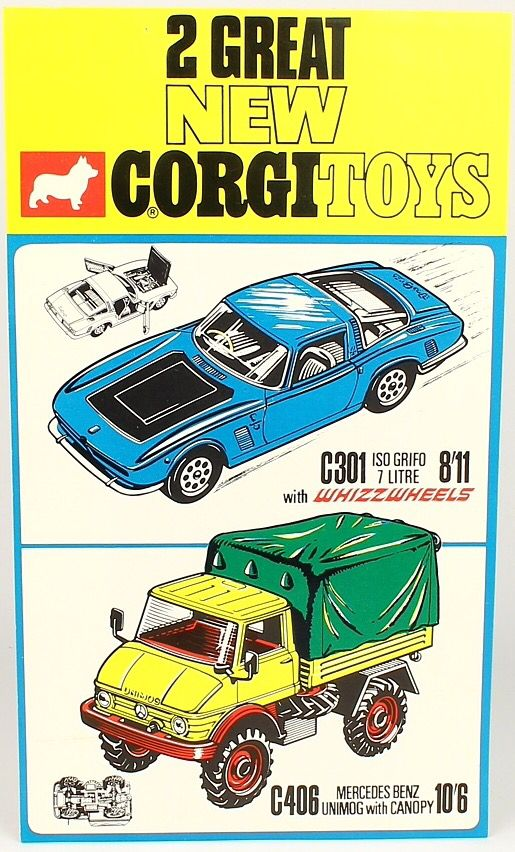 "Vintage Corgi Toys Retailer's window Banner advertising ""New"" 301 Iso Grifo and…"