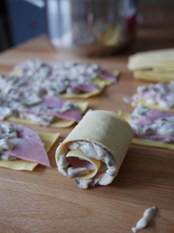 Lasagnes roulées au jambon et champignons