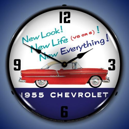 1955 Chevrolet New Look Led Lighted Wall Clock 14 X 14 Inches Wall Clock Light Clock Wall Clock