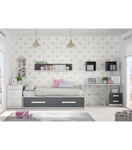 Dormitorio juvenil en gris y rosa con cama nido y escritorio dormitorisojuveniles decoracion for Habitaciones juveniles 3 camas