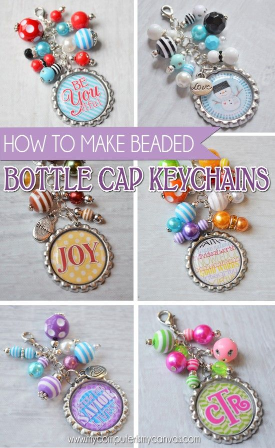 How to make beaded bottle cap key chains simple wire for How to print your own labels at home