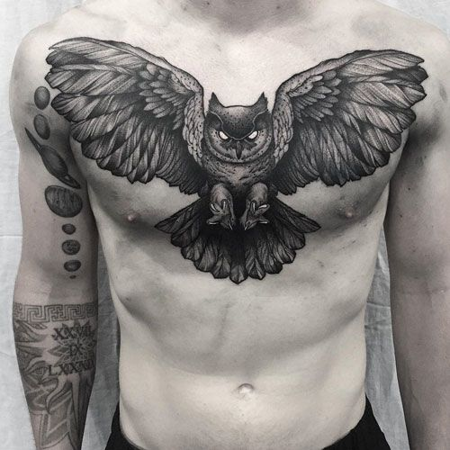 125 Best Owl Tattoos For Men Cool Designs Ideas 2020 Guide Chest Tattoo Men Mens Owl Tattoo Owl Tattoo