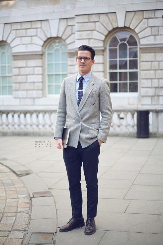 Images of Grey Blazer Blue Pants - Reikian