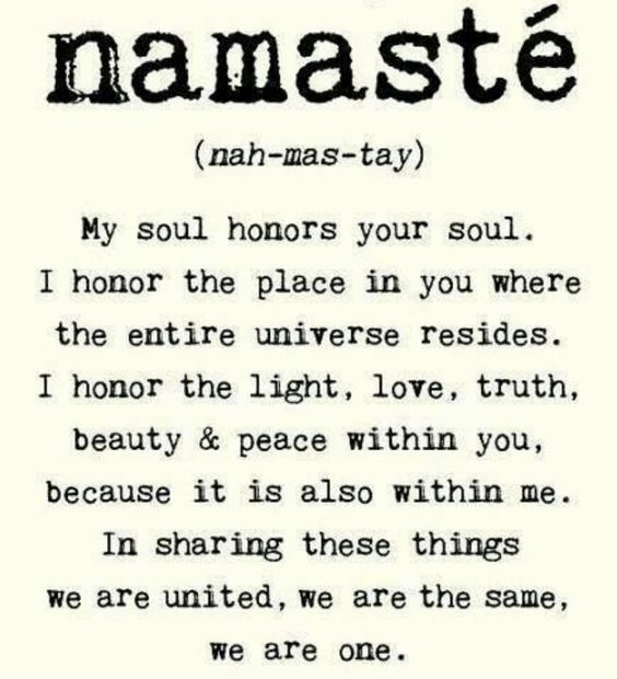 Namaste. Nice word. Nice reminder that we are all spiritual souls having a human experience together.