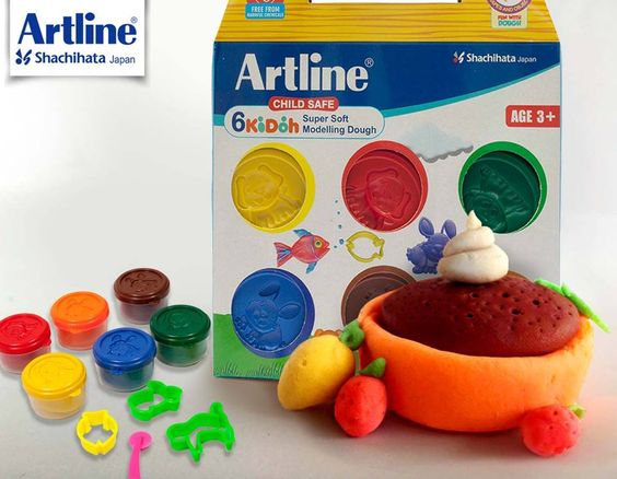 Get your kid excited to mould these soft & delicious looking Choco Puddings with Artline Child Safe Modelling Dough. Packed with 6 bright colours! And no worries its food grade, just in case the little chef gets tempted to pop it too.   #Artline #ChildSafe #SuperiorPerformance #KiDoh #SuperSoft #Modelling #Clay #EasyToMould #NonToxic #Stationery