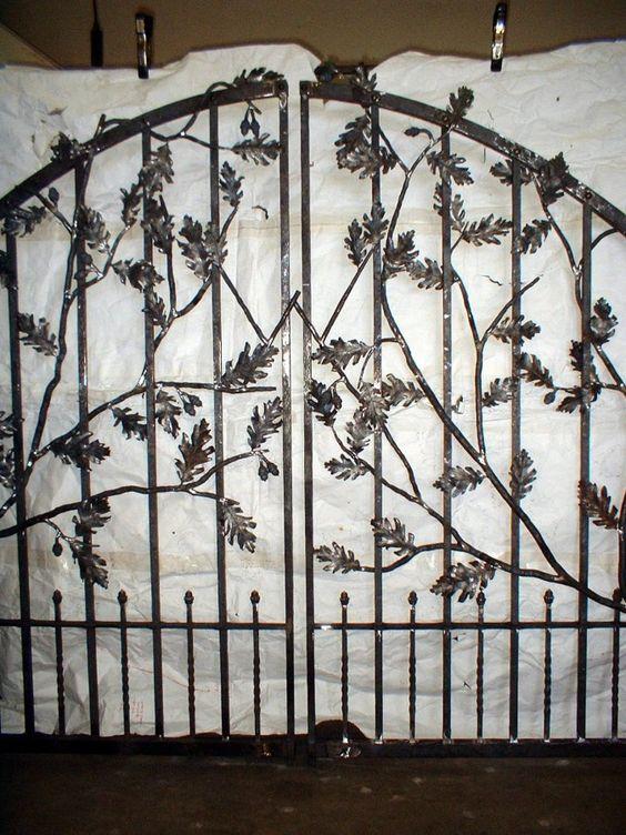 Acorn and Oak Leaf Custom Wrought Iron Entrance Gate