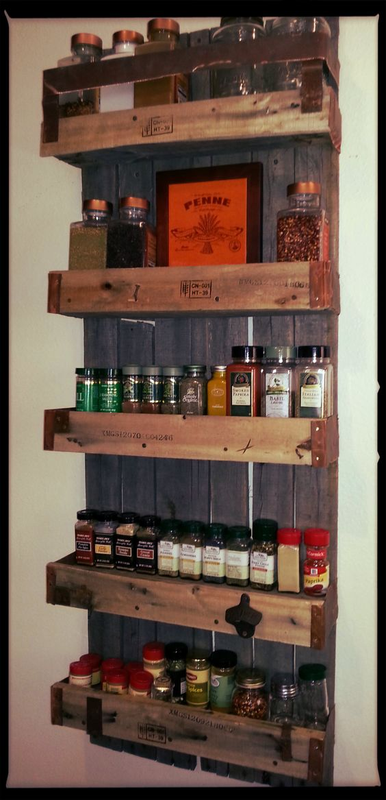 Spice racks spices and the one on pinterest for How to make a spice rack out of pallets