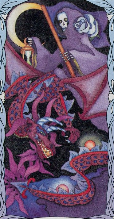 Tarot of a Moon Garden -- Death / crescent moon / Embodied <3