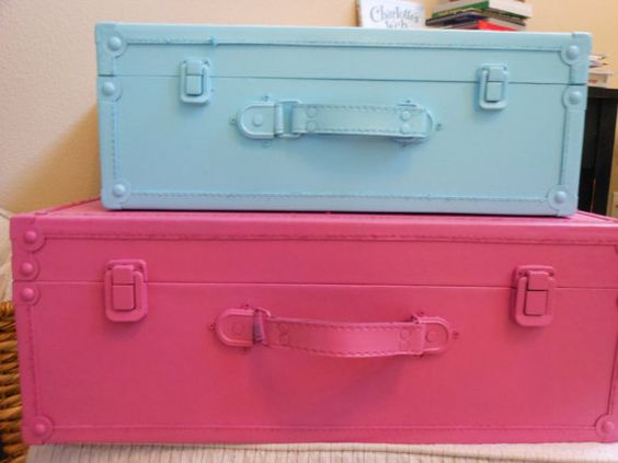 JEZ4U Vintage Stack of two Suitcases that are Pink and by Jez4U, $150.00
