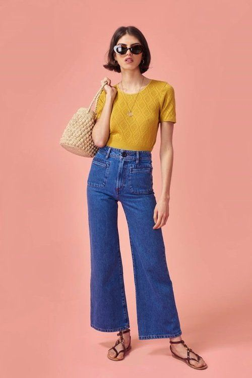 french it girl style with wide legged demim