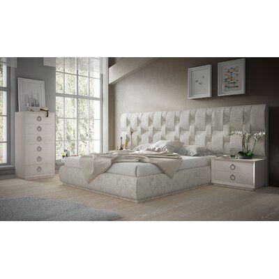 Hispania Home London Bedor68 Bedroom Wood Upholstered Velvet Upholstered In White Size Queen Wayfair In 2021 Room Ideas Bedroom Platform Bedroom Sets Bedroom Set