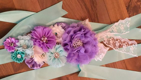 Lavender, Mint Green and Ivory Shabby Chic Maternity Sash, Gender Reveal Pregnancy Sash, Belly, Band, Belt Sash, Belly Bump Sash, Sashes by SundayChildBoutique on Etsy https://www.etsy.com/listing/463110062/lavender-mint-green-and-ivory-shabby