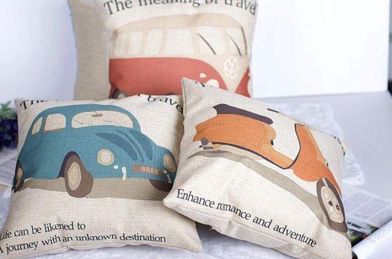 """Silla de comedor esterasdecoches cojines almohadas decorar la cubierta de un sofá de la sala de casos mantas 18"""" de lino de dibujos animados coche autobús 3pcs/lot de la motocicleta"""
